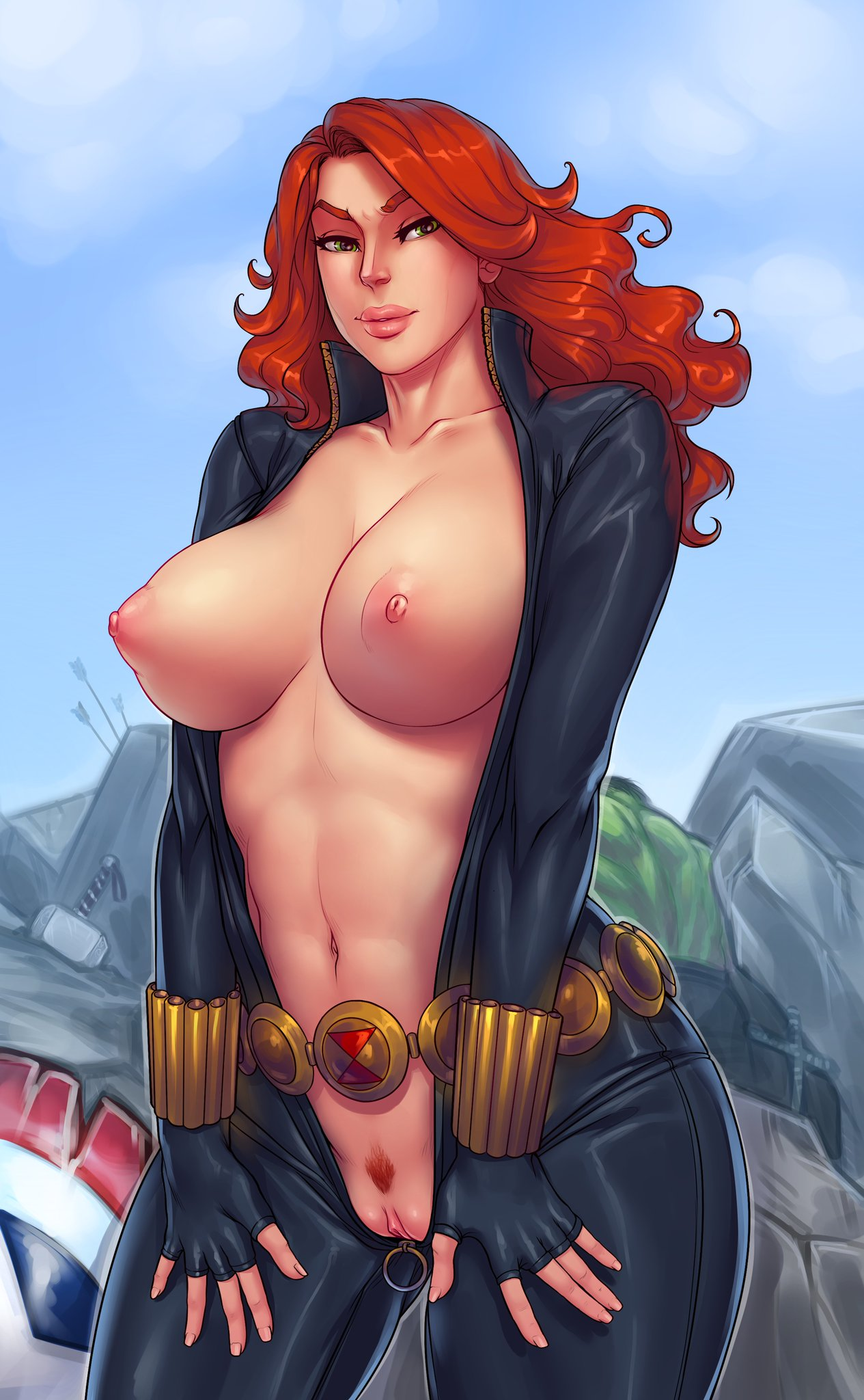the naked black widow avengers Hentai all the way through